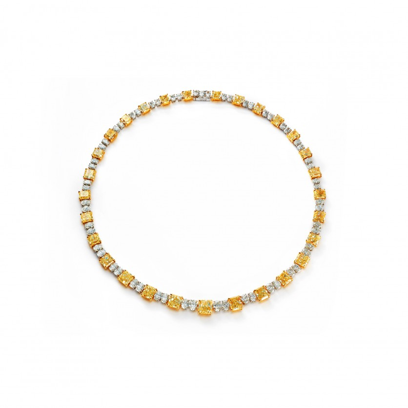 Yellow & White Diamonds Dazzle Necklace