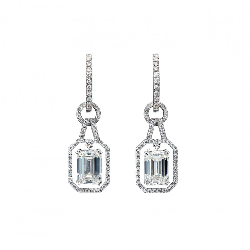 Elegant Emerald cut Diamond Earrings