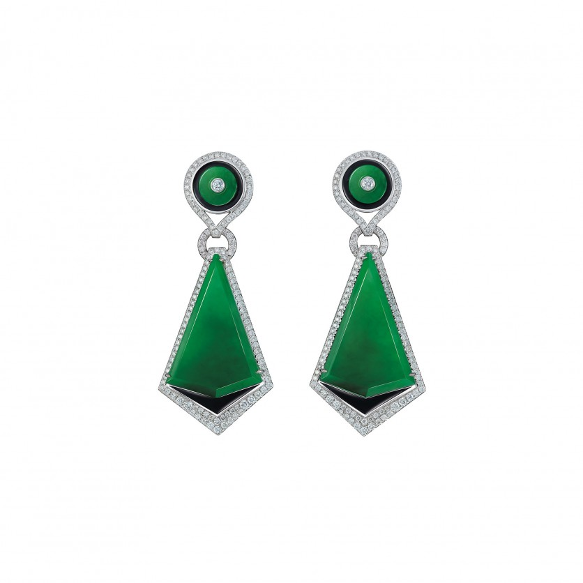 Opulent Jadeite Fan Earrings