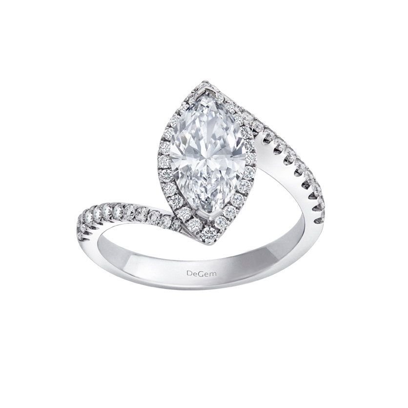DeGem Marquise-shaped Diamond Micropavé Solitaire Ring