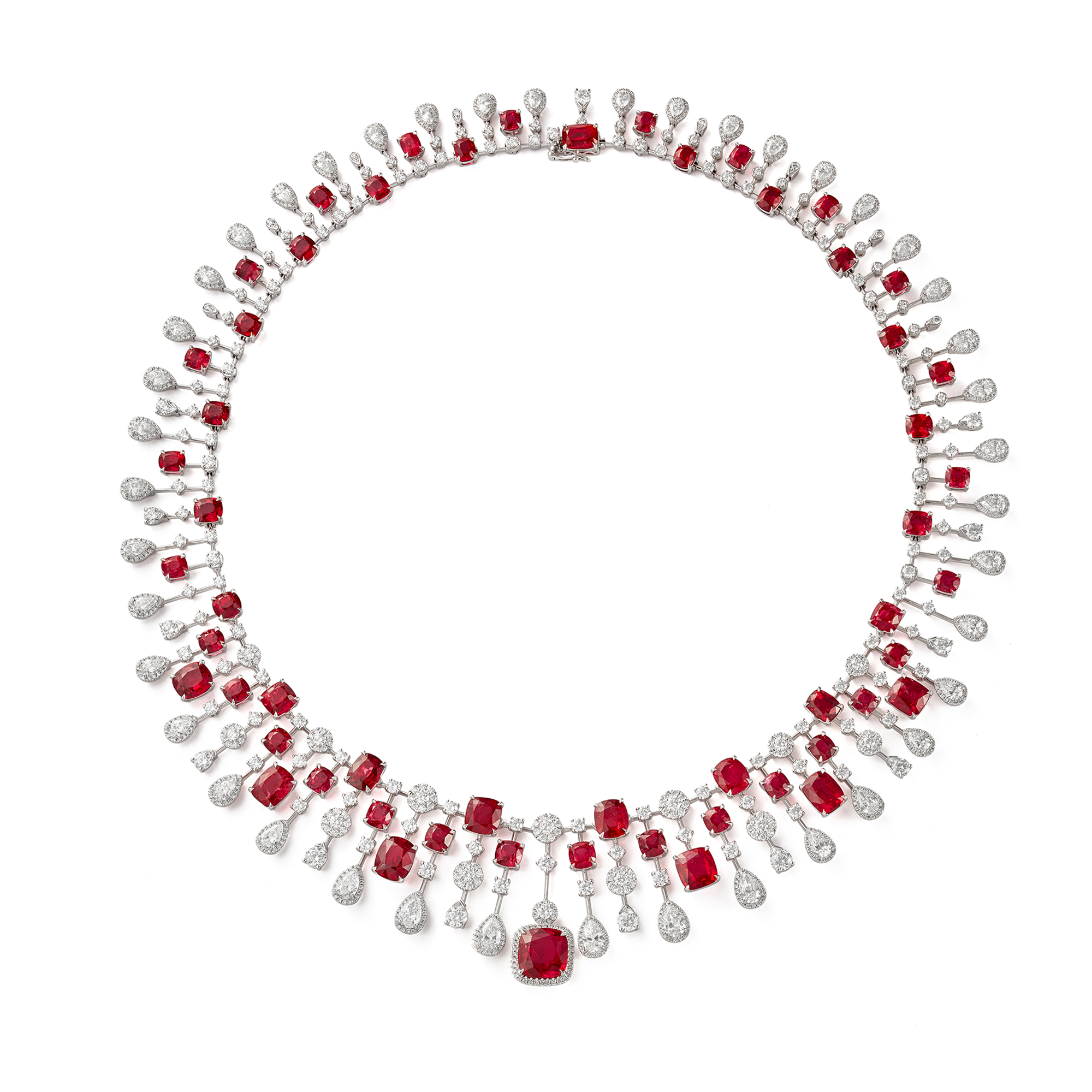 Fireworks Spinel and Diamond Necklace