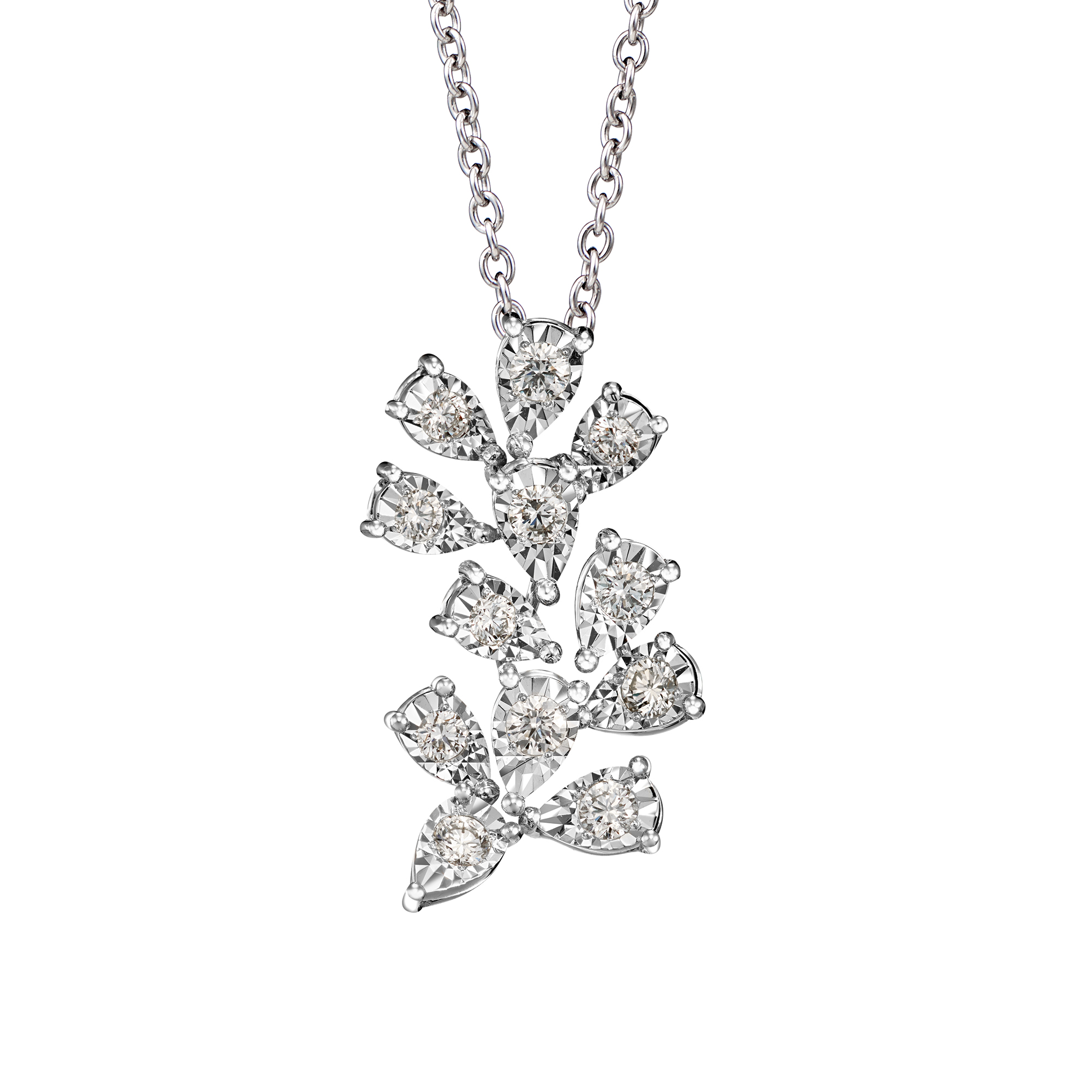 Shining Floral Diamond Necklace