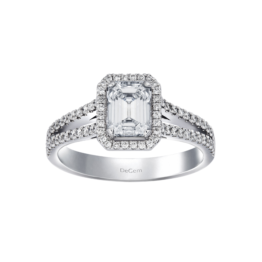 DeGem Emerald Cut Diamond Micropavé Solitaire Ring