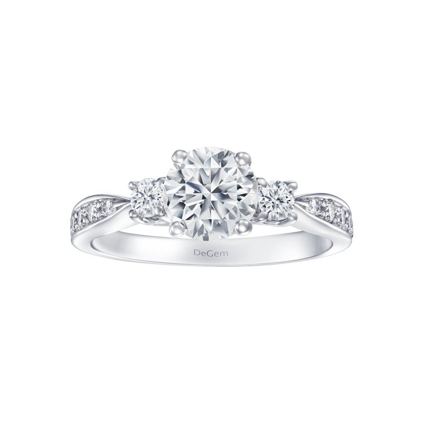 DeGem Trio Classic Round Diamond Solitaire Ring