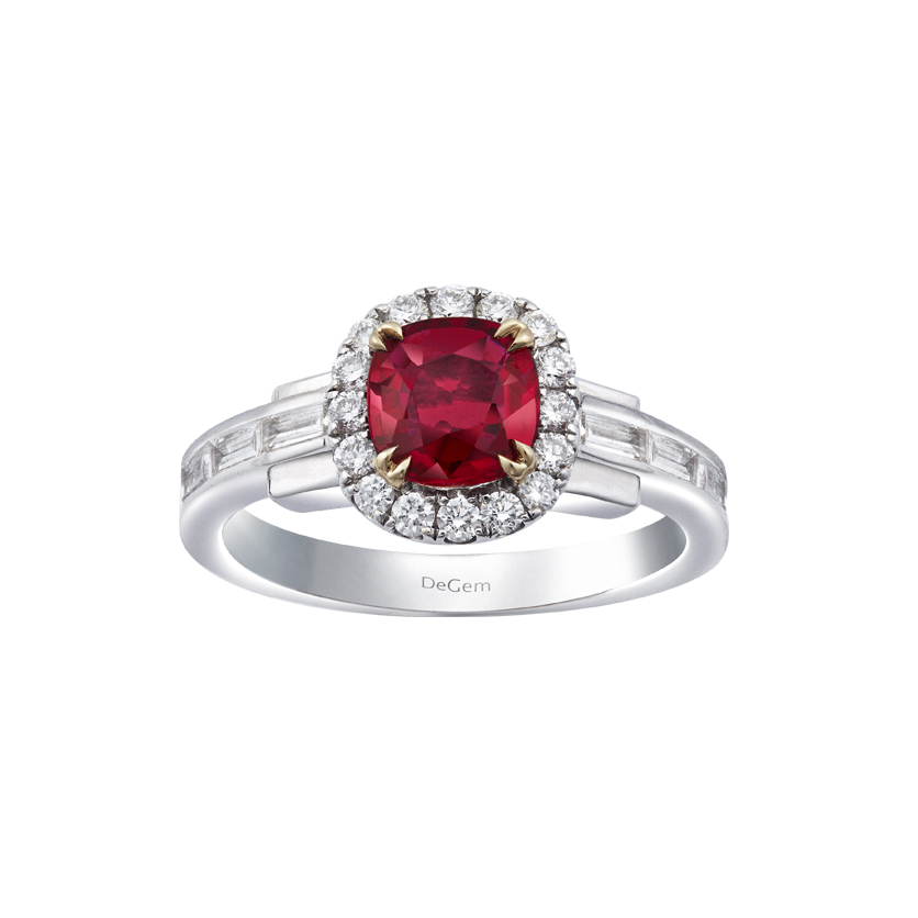 Infinity Precious Collection – Cushion Cut Ruby Engagement Ring by DeGem