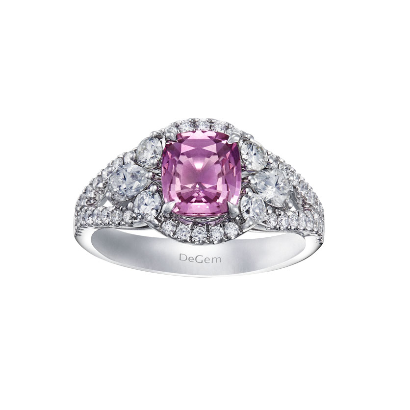 Infinity Precious Cushion Cut Pink Sapphire Engagement Ring by DeGem