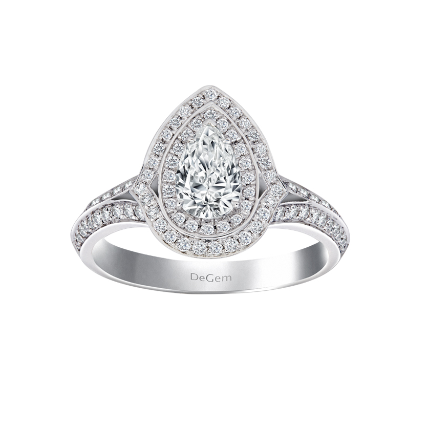 DeGem Pear-shaped Diamond Micropavé Solitaire Ring
