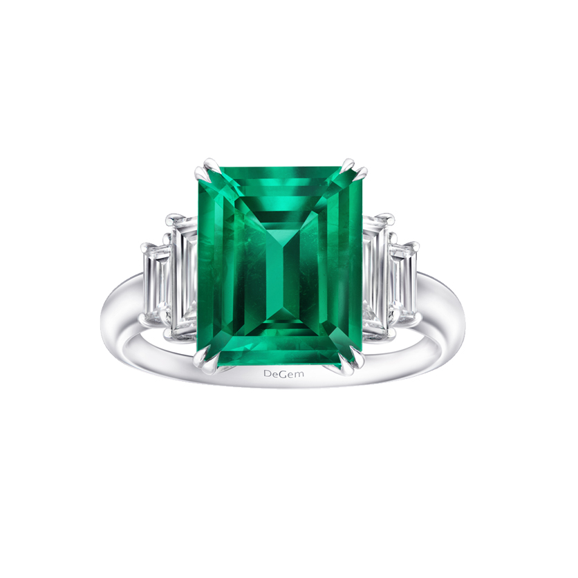 Infinity Precious Emerald Engagement Ring by DeGem