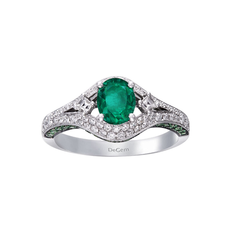 Infinity Precious Oval-shaped Emerald Engagement Ring by DeGem