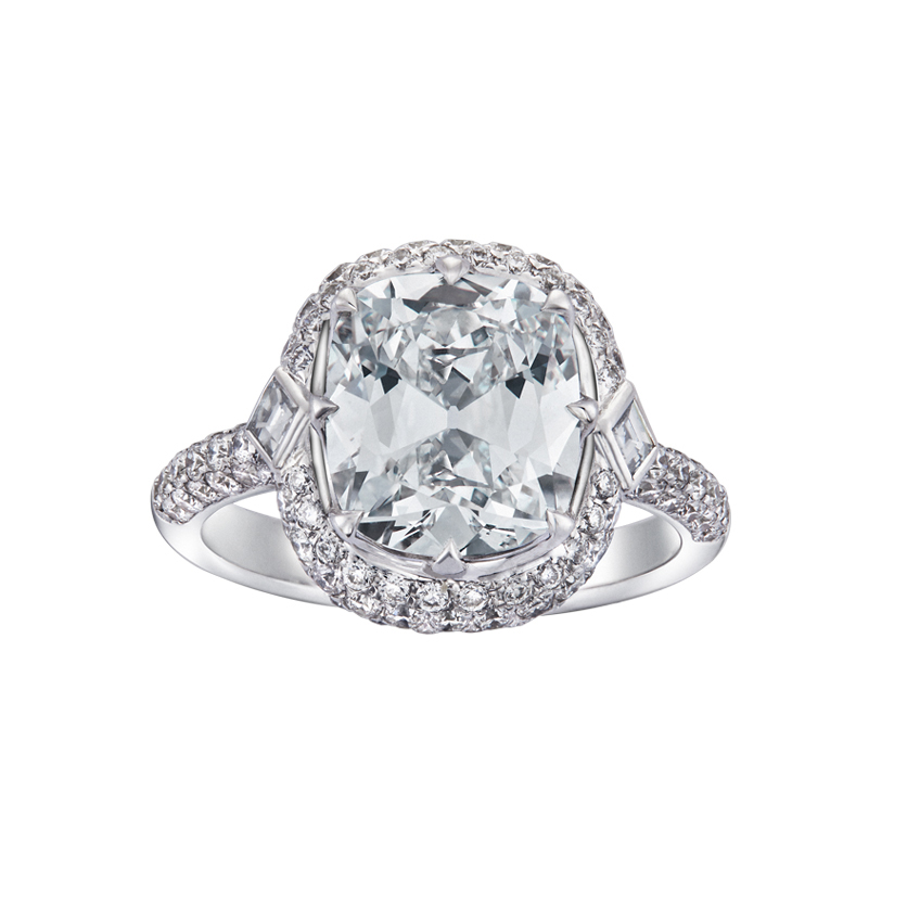 DeGem Cushion Cut Diamond Micropavé Solitaire Ring