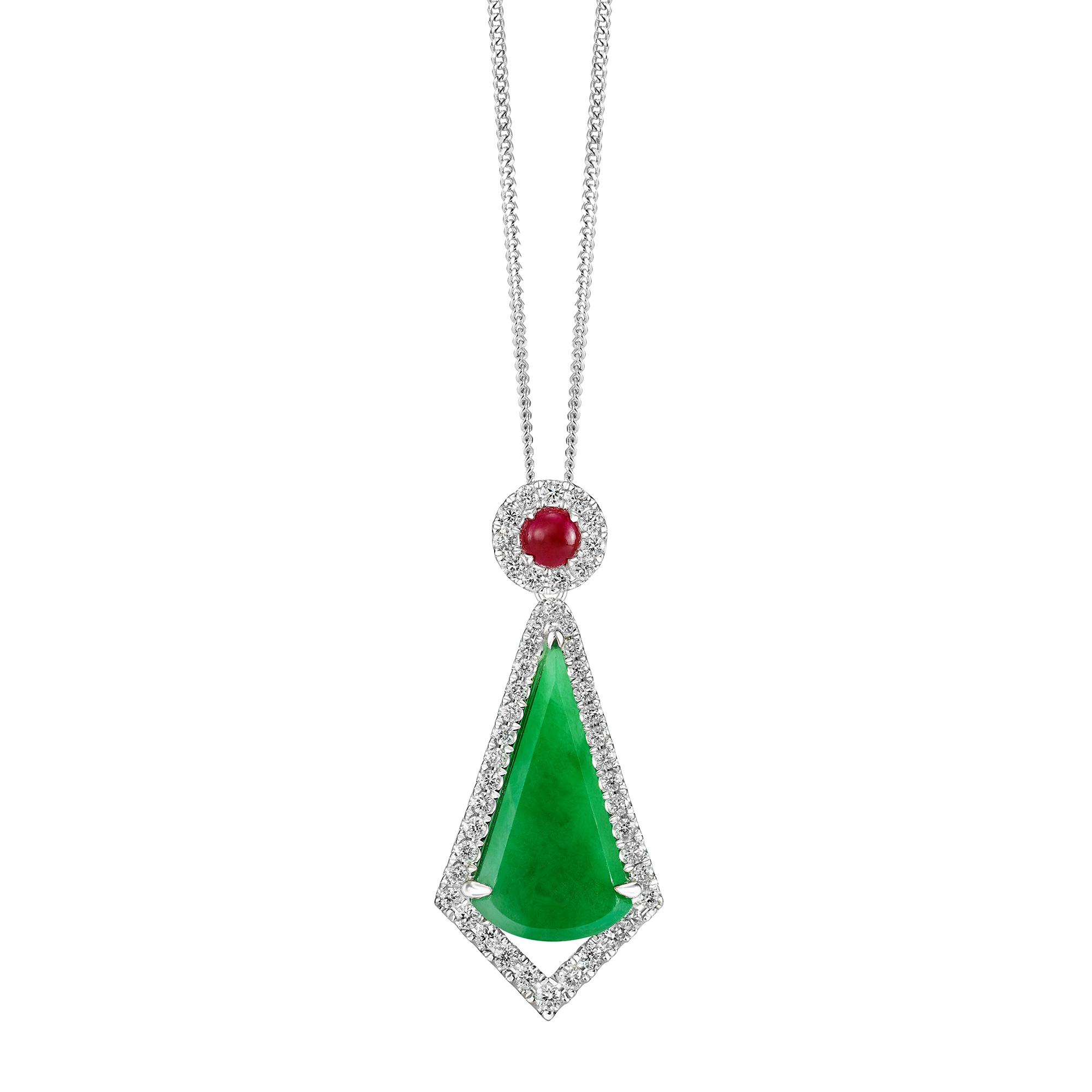 Luscious Jade Fan Necklace with Cabochon Ruby