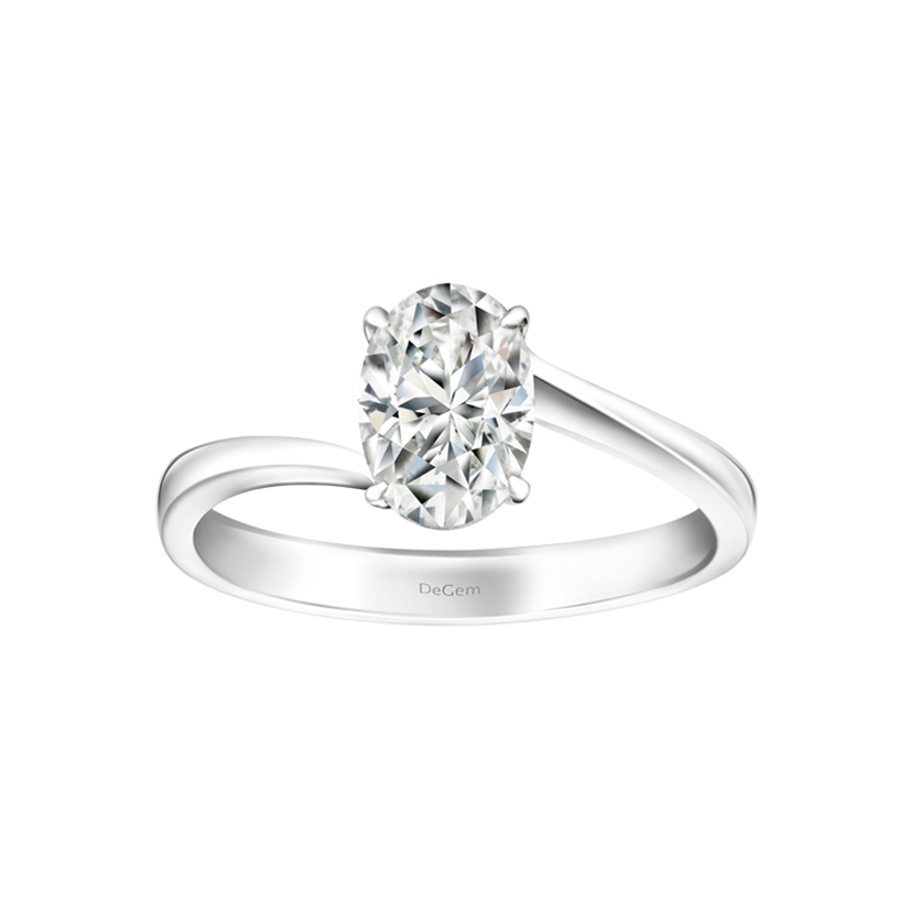 DeGem Classic Oval Cut Diamond Solitaire Ring