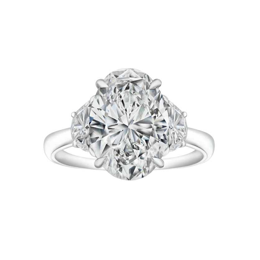 DeGem Oval Cut Diamond Solitaire Ring with Pear Side Stones