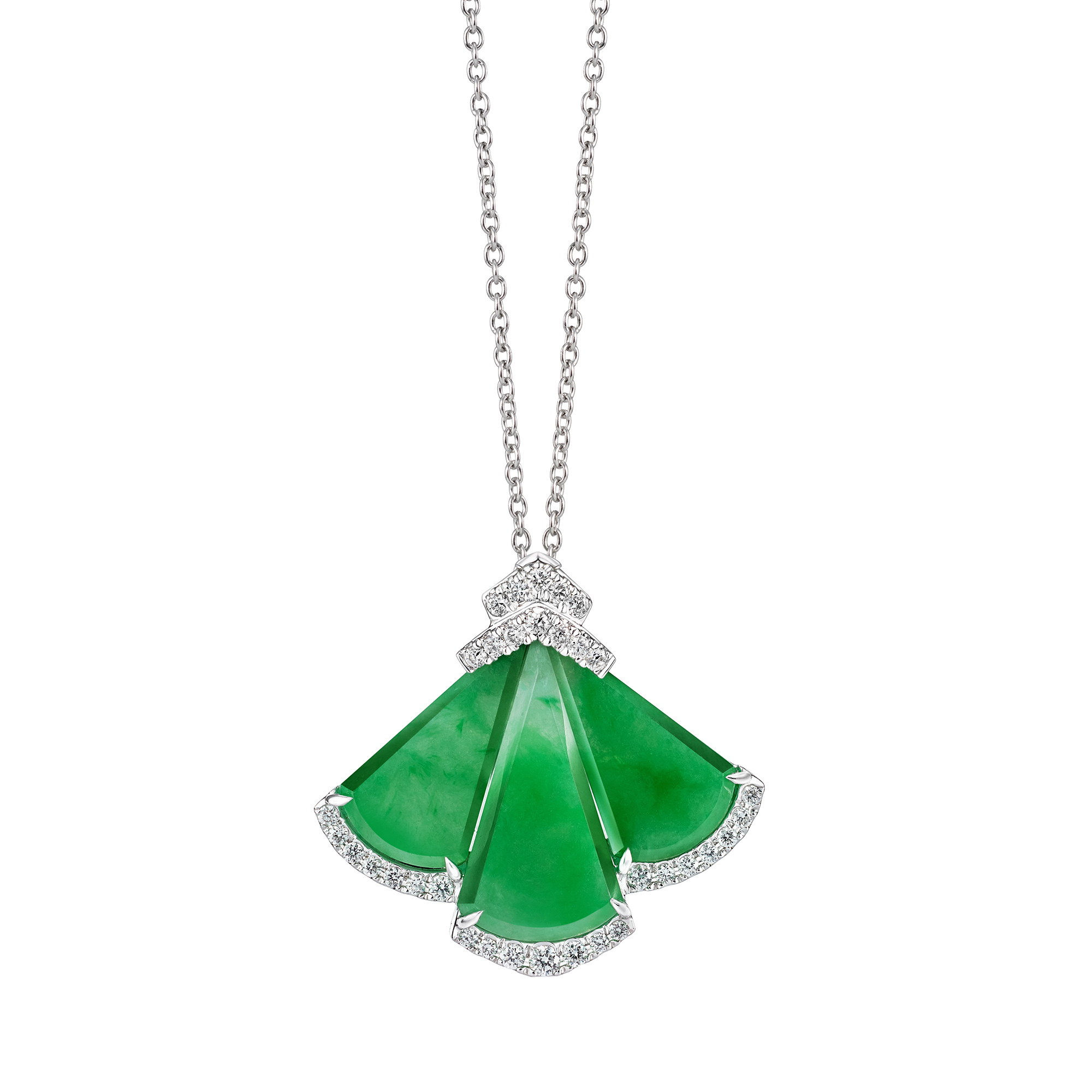 Luscious Jade Fan Necklace