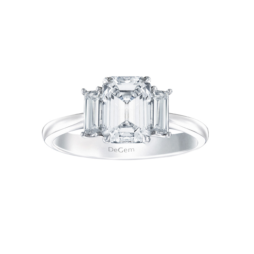 DeGem Trio Emerald-cut Diamond Solitaire Ring