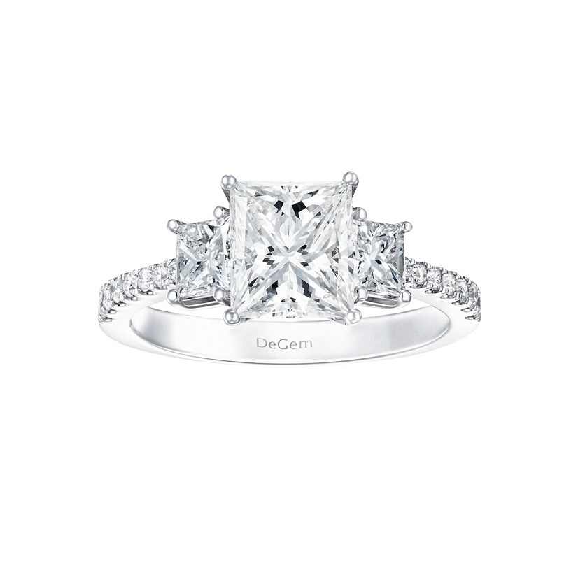 DeGem Trio Princess-cut Diamond Solitaire Ring
