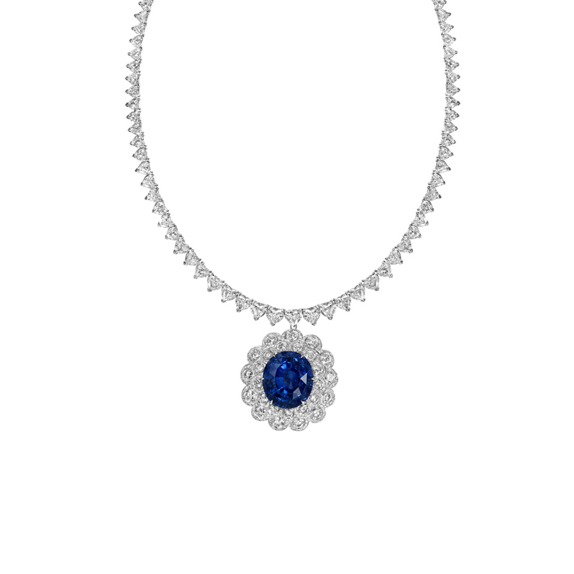 diamond halo shaped gemstones pear necklace white dangle blue with sapphire condon pendant