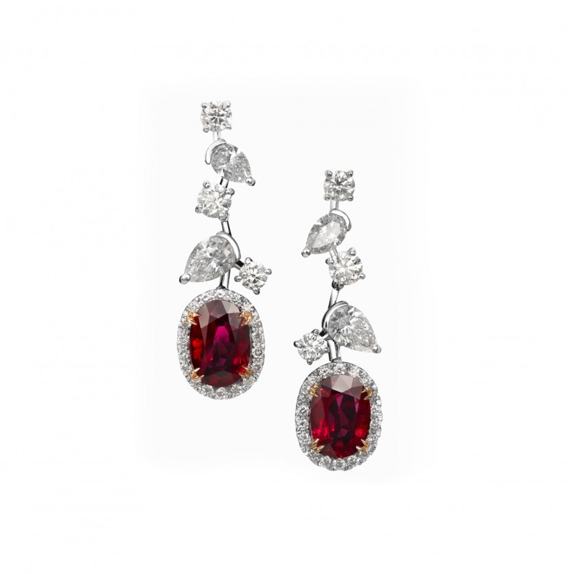 Pigeon Blood Ruby Earrings