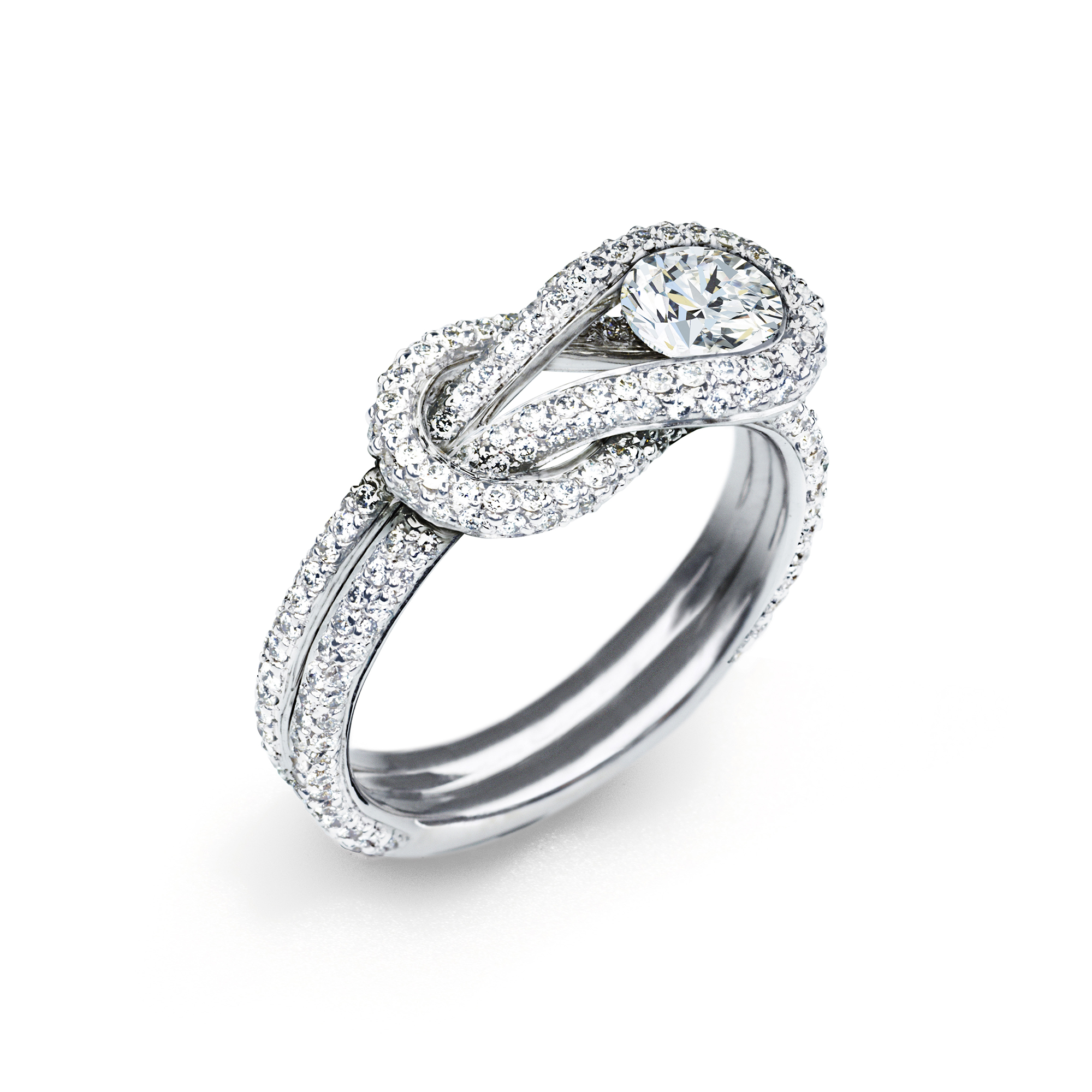 Forevermark Encordia Pave Solitaire Diamond Ring