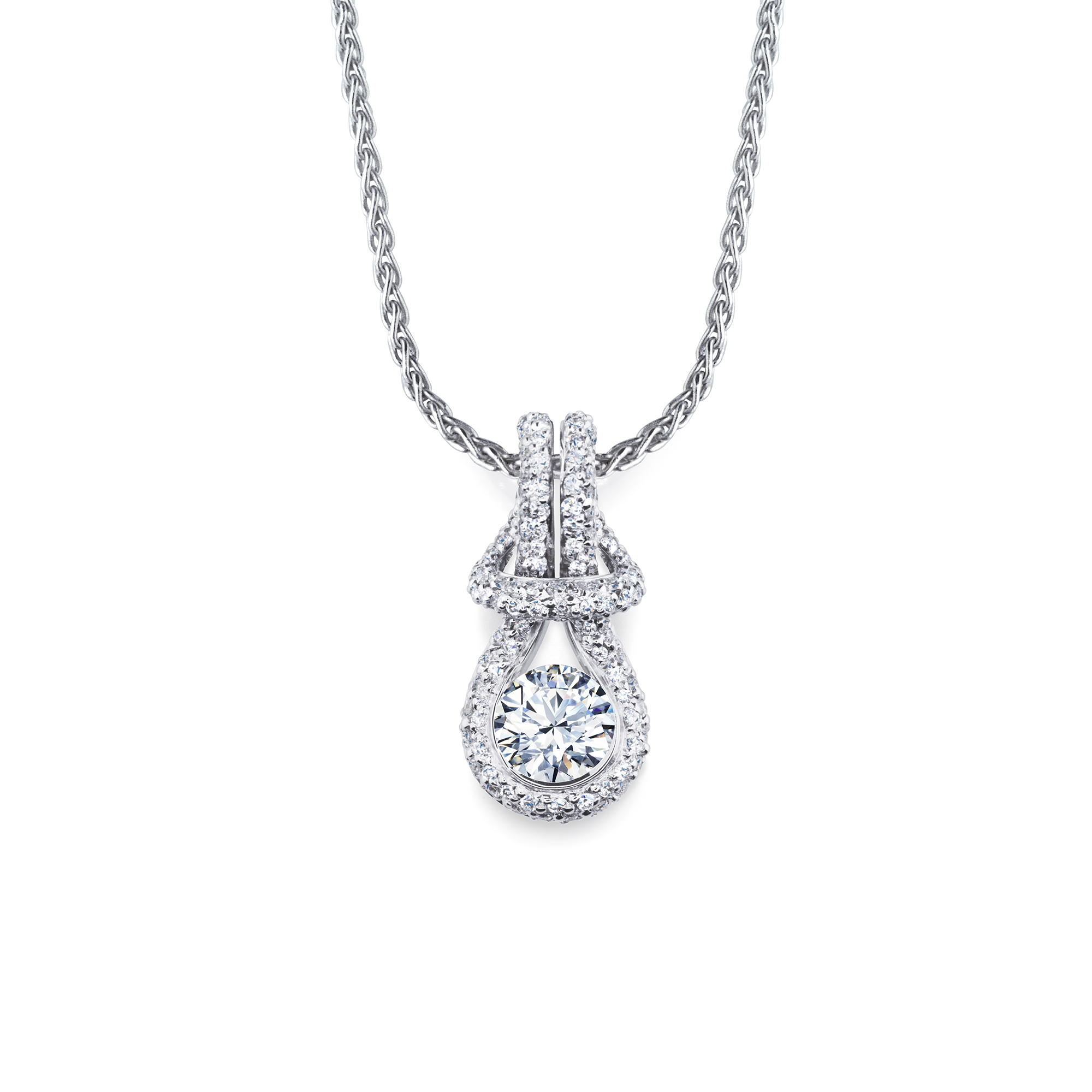 Forevermark Encordia Pave Solitaire Diamond Necklace