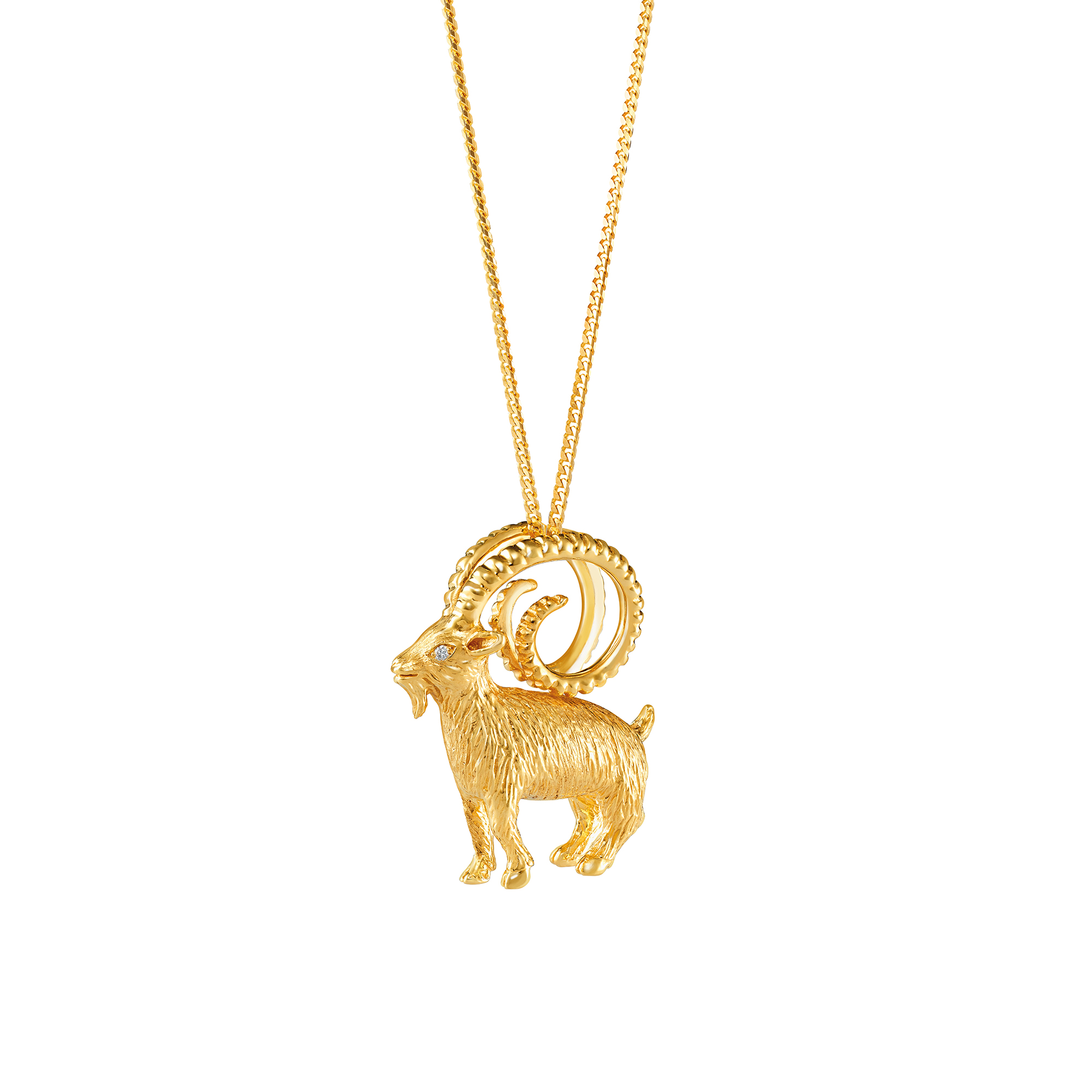 goat pendant gold silver index dolphin