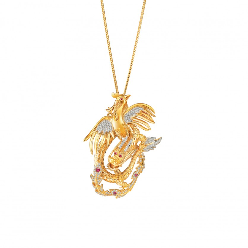 Pendants degem diamond dragon phoenix pendant aloadofball Images