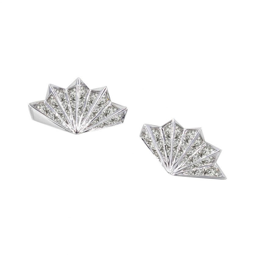 Soleluna AURY Folding Fan Diamond Stud Earrings
