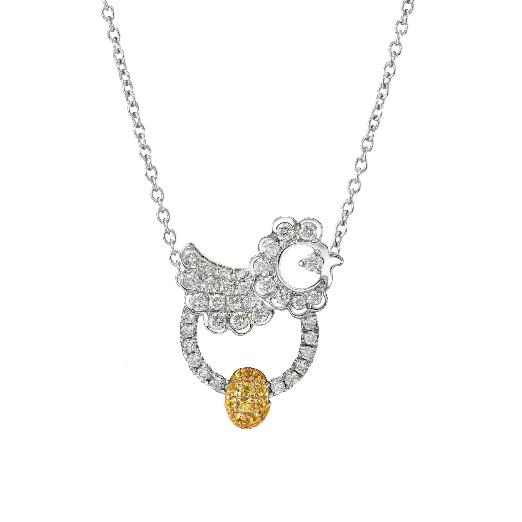 White Gold Rising Fowl Necklace-