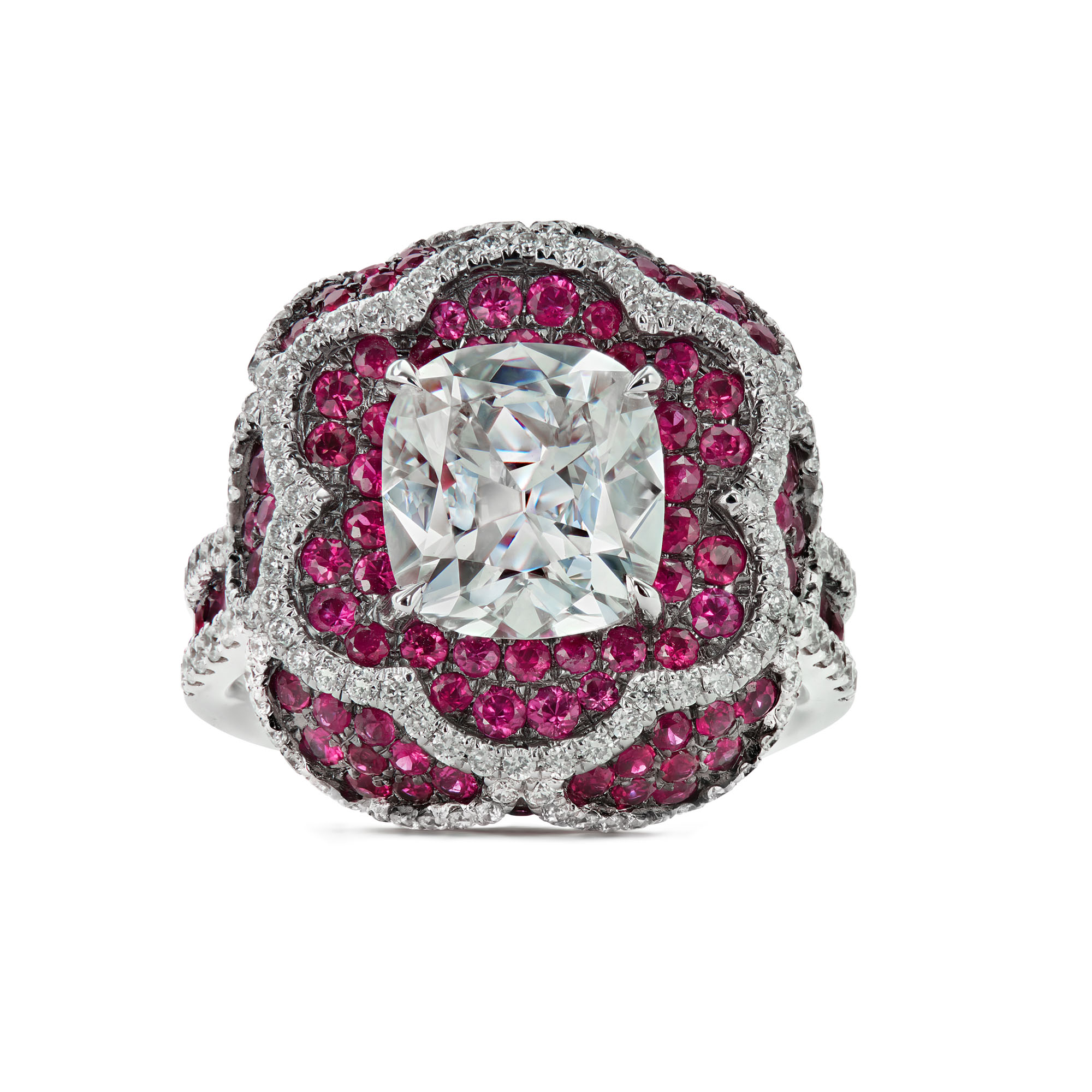 Fleur Diamonds in Rubies Ring