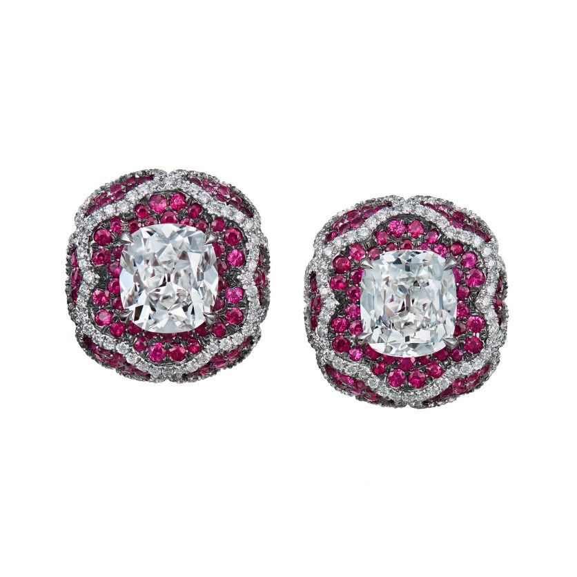 Fleur Diamonds in Rubies Earrings