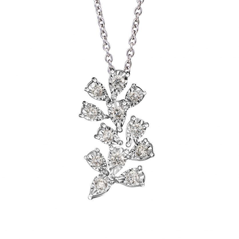 Shining Floral Diamond Pendant Necklace