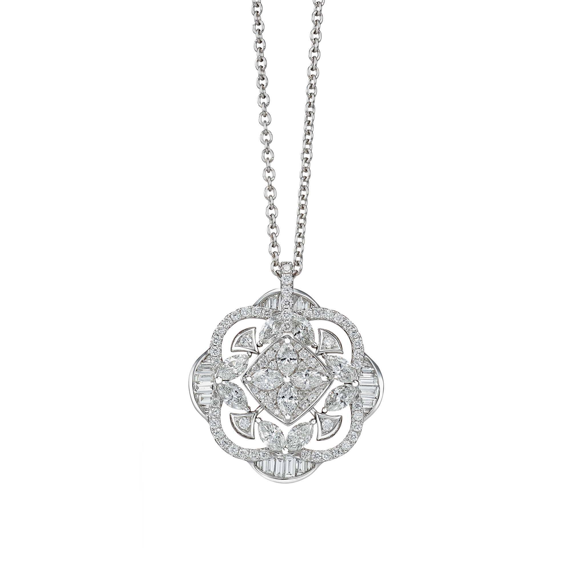 Classic Diamond Pinwheel Necklace