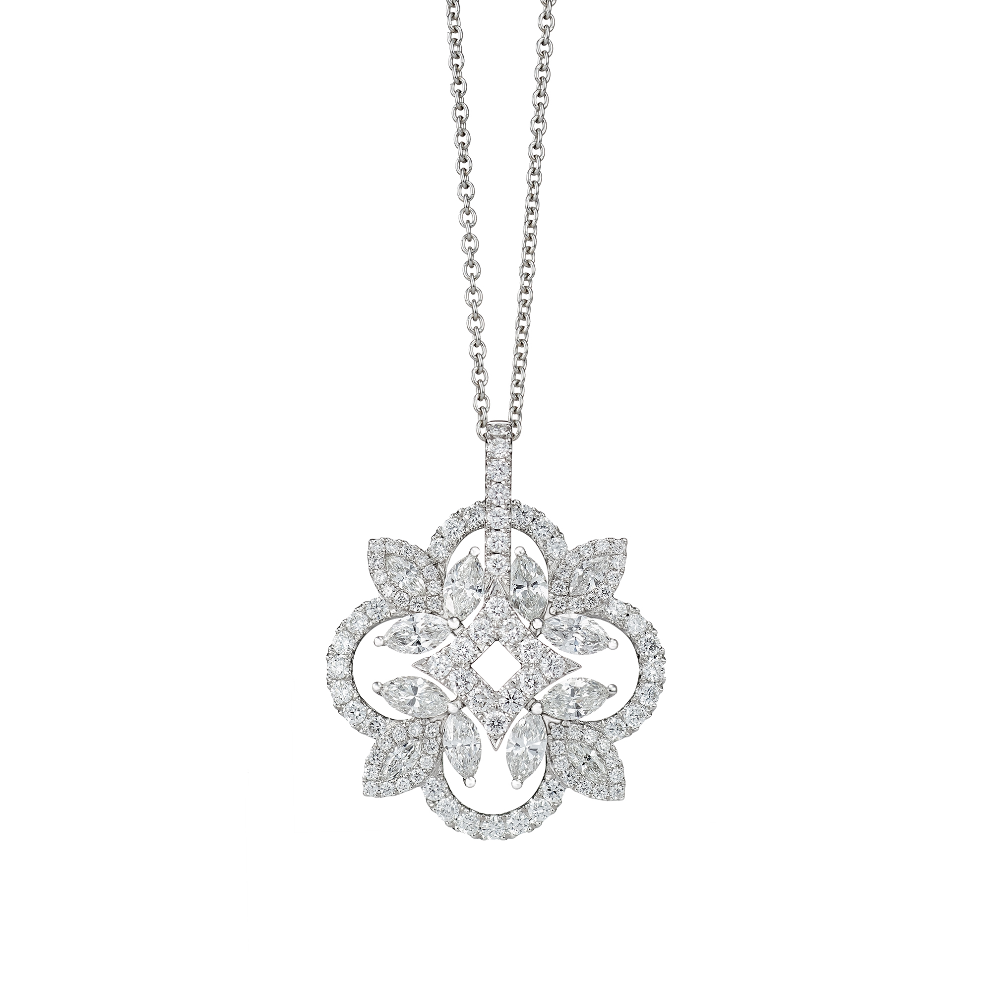 Snowflake Diamond Pinwheel Necklace