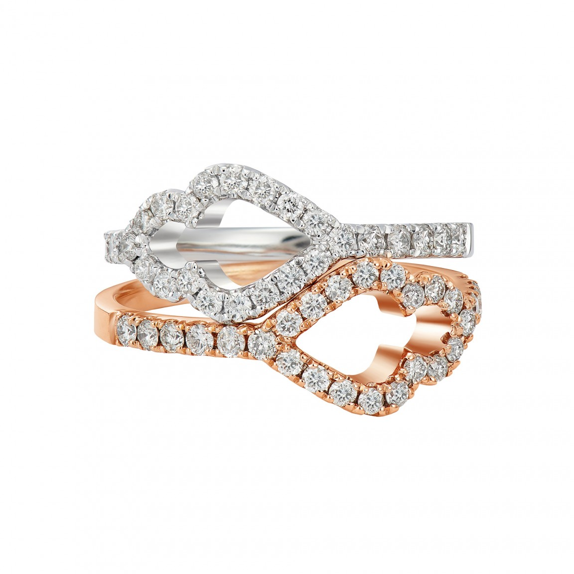 Wave Diamond Stackable Rings